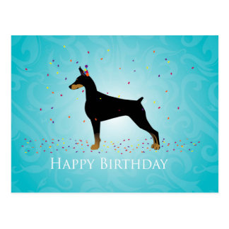 Doberman Pinscher Happy Birthday Design Postcard