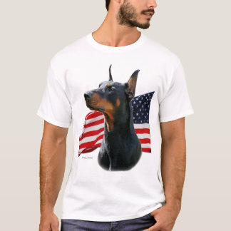 Doberman Pinscher head with Flag T-Shirt