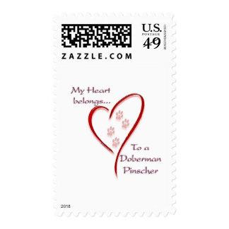 Doberman Pinscher Heart Belongs Postage Stamp