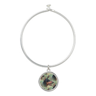 Doberman Pinscher in the Woods Bangle Bracelet