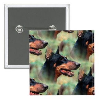 Doberman Pinscher in the Woods 2 Inch Square Button