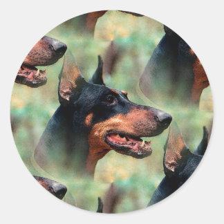 Doberman Pinscher in the Woods Classic Round Sticker