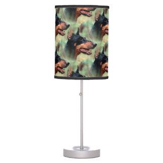 Doberman Pinscher in the Woods Desk Lamp