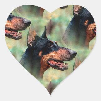 Doberman Pinscher in the Woods Heart Sticker
