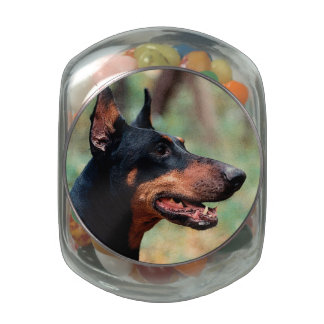 Doberman Pinscher in the Woods Jelly Belly Candy Jars