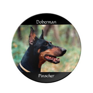 Doberman Pinscher in the Woods Porcelain Plate