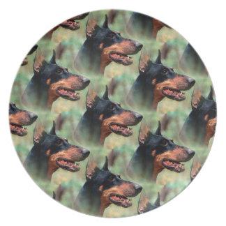 Doberman Pinscher in the Woods Melamine Plate