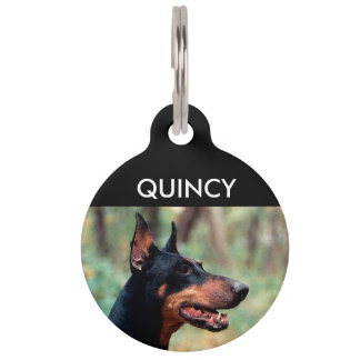 Doberman Pinscher in the Woods Pet Name Tag