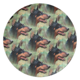 Doberman Pinscher in the Woods Party Plates