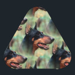 """Doberman Pinscher in the Woods Speaker<br><div class=""""desc"""">Slight cartoon effect on this image of a Doberman Pinscher dog with cropped ears against a woodsy green background color scheme. Perfect for the Dobie dog lover in you!</div>"""
