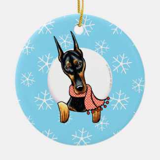 Doberman Pinscher Let it Snow Ceramic Ornament