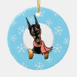 Doberman Pinscher Let it Snow Christmas Ornaments