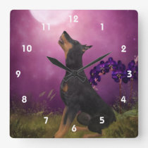 Doberman Pinscher Looking At Moon Animal Art Square Wall Clock