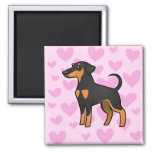 Doberman Pinscher Love (floppy ears) 2 Inch Square Magnet