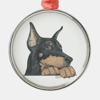 DOBERMAN PINSCHER METAL ORNAMENT