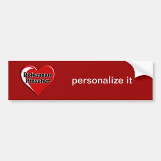 Doberman Pinscher on Heart for dog lovers Bumper Sticker