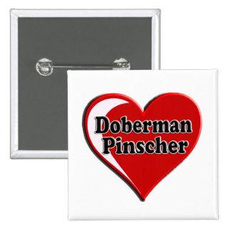 Doberman Pinscher on Heart for dog lovers Button