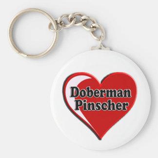 Doberman Pinscher on Heart for dog lovers Basic Round Button Keychain