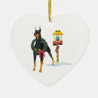 Doberman Pinscher Double-Sided Heart Ceramic Christmas Ornament