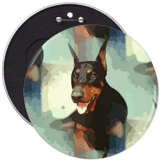 Doberman Pinscher Portrait 6 Inch Round Button