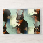 """Doberman Pinscher Portrait HP Laptop Skin<br><div class=""""desc"""">Black and rust (tan) Doberman Pinscher dog with cropped ears in a cartoon design pattern with shades of blue,  white,  and gray colors as a background. Perfect for the Dobie dog lover in you!</div>"""