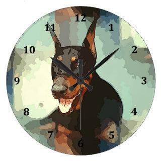 Doberman Pinscher Portrait Large Clock