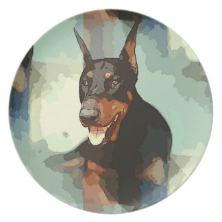Doberman Pinscher Portrait Dinner Plate