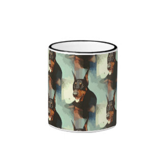 Doberman Pinscher Portrait Ringer Coffee Mug