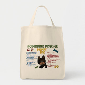 Doberman Pinscher Property Laws 4 Grocery Tote Bag