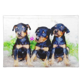 Doberman Pinscher puppies Cloth Placemat