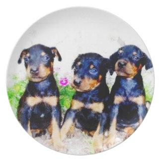 Doberman Pinscher puppies Melamine Plate