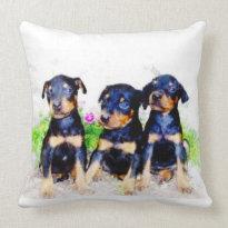 Doberman Pinscher puppies Throw Pillows