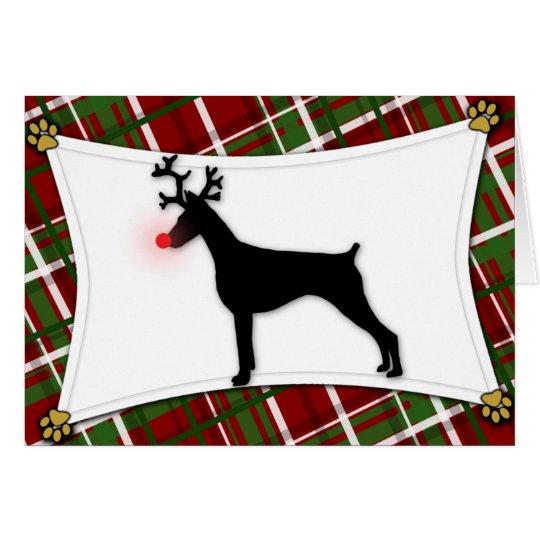 Doberman Pinscher Reindeer Christmas Card