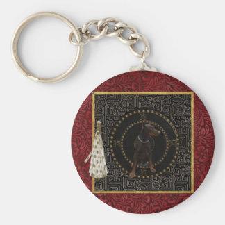 Doberman Pinscher, Round Shape, Dog in Chinese Keychain