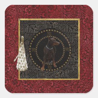 Doberman Pinscher, Round Shape, Dog in Chinese Square Sticker