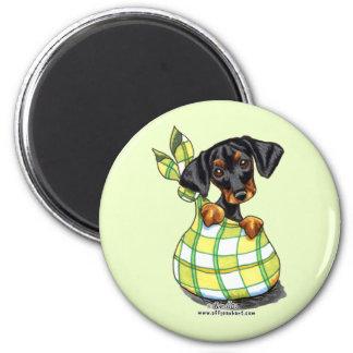 Doberman Pinscher Sack Puppy 2 Inch Round Magnet