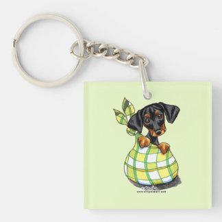 Doberman Pinscher Sack Puppy Single-Sided Square Acrylic Keychain