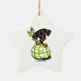 Doberman Pinscher Sack Puppy Double-Sided Star Ceramic Christmas Ornament