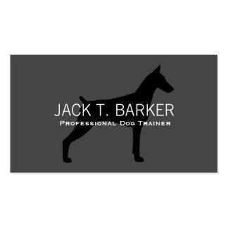 Doberman Pinscher Silhouette Black on Grey Business Card