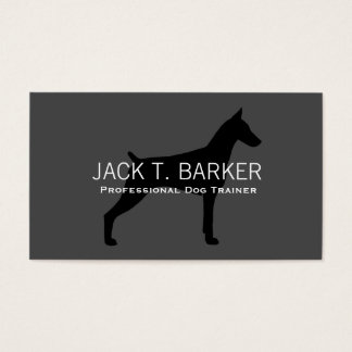 Doberman Pinscher Silhouette Black on Grey Business Card