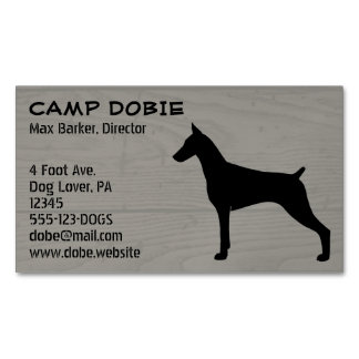 Doberman Pinscher Silhouette Business Card Magnet