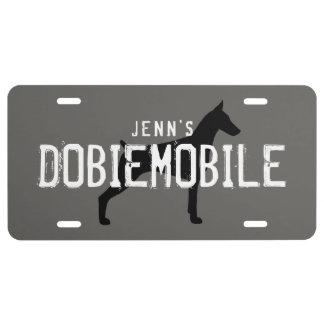 Doberman Pinscher Silhouette DOBIEMOBILE Custom License Plate