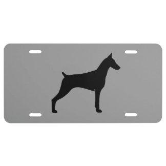 Doberman Pinscher Silhouette License Plate