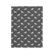 Doberman Pinscher Silhouettes Pattern Grey Fleece Blanket