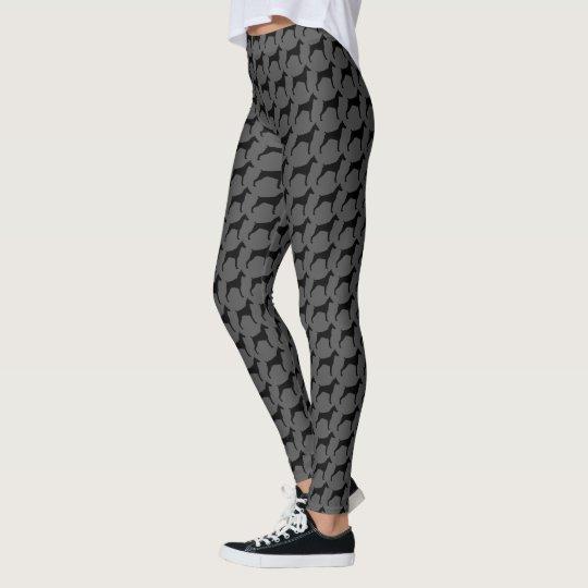 e85c7b9e55cdc Doberman Pinscher Silhouettes Pattern Leggings   Zazzle.com