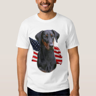 Doberman Pinscher- uncropped natural ear with flag T Shirt