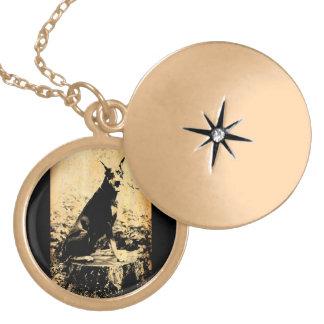 Doberman Pinscher Vintage Old Photo Locket Necklace
