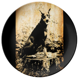 Doberman Pinscher Vintage Old Photo Porcelain Plate