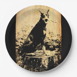 Doberman Pinscher Vintage Old Photo Paper Plate