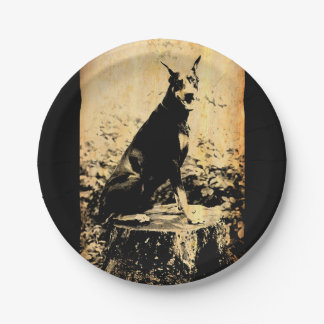Doberman Pinscher Vintage Old Photo 7 Inch Paper Plate